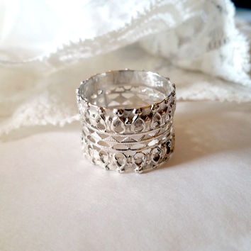 Silver band ring , Lace silver ring , filigree  ring , sterling Silver Ring  , bridal ring , wedding ring , statement ring , lace jewelry