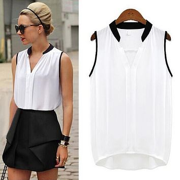Women Ladies Summer Casual Sleeveless Chiffon Tee Vest Shirt Blouse Loose Tops Hot Sale