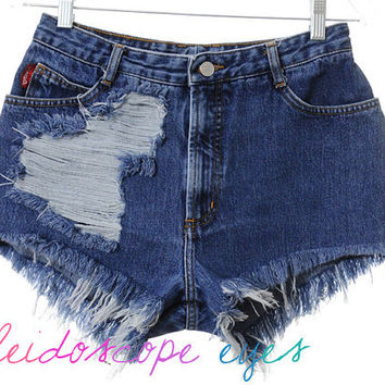 Vintage Bongo DESTROYED High Waist Trashed Denim Cut Off Shorts M