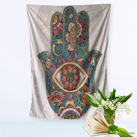 Hamsa Hand Tapestry Indian Mandala Floral Wall Hanging Tapestry for Home Psychedelic Bedspread 3 Sizes