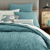 Crinkle Duvet Cover + Shams - Aquamarine