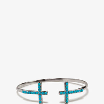 Faux Turquoise Cross Cuff