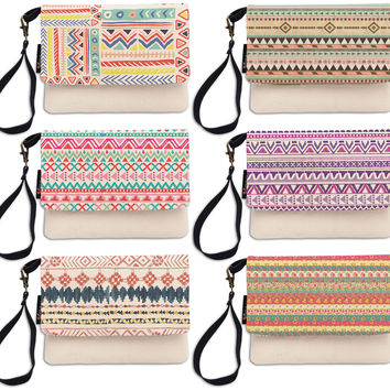 Ethnic Aztec Pattern Beige Printed Canvas Wallet Clutch Purse WAS_12