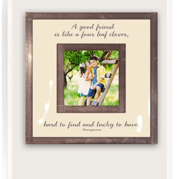 "A Good Friend Is Like A Four Leaf Clover 3""x 3"" Copper & Glass Photo Frame"
