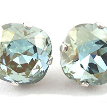 CATHERINE POPESCO 12mm Stormy Grey Swarovski Crystal Silver Plated Stud Earrings 1/2