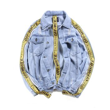 Casual Denim Tops Ripped Holes Couple Jacket [402634244132]