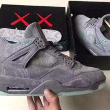 Kaws X Air Jordan 4 Retro Cool Grey Basketball Shoes 930155-003 Retro 4 Vi Glow In The Dark Grey Suede Shoes For Men Sports  - Beauty Tickssneakers