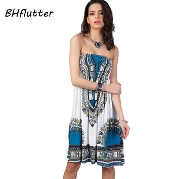 Women Dress Summer Fashion Blue Strapless Sexy Beach Dresses Print Off The Shoulder Strapless Bohemian Dress
