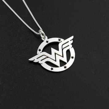Wonder Woman necklace sterling silver Wonder Woman symbol - super hero - gift for women - girl jewelry - strong woman - amazing mom gift