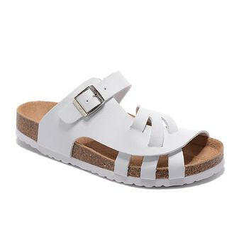 2017 Birkenstock Summer Fashion Leather White Cork Flats Beach Lovers Slippers Casual