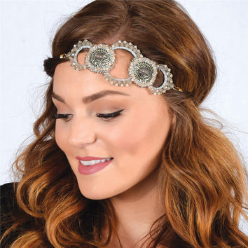 Pink Pewter Beaded Stretch Headband HAYDEN 4 Colors-Wedding Prom Hair Accessory