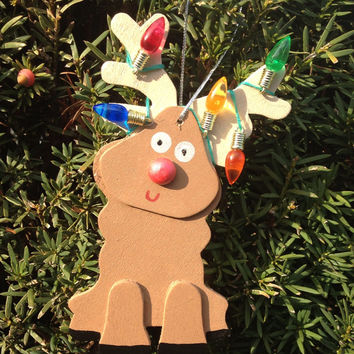 Wood Reindeer Ornament by langanfamilyfinds on Etsy