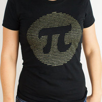 Pi (organic cotton) Math T shirt | Golden metallic ink 3.14 pi t-shirt, perfect for boyfriends, girlfriends or anyone who's irrational