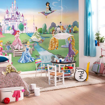 Photo Wall Mural Photography Wallpaper Disney Princess Castle Cinderella and company - Children's Art Wall Decal Decor