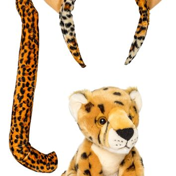Plush Cheetah Ears Headband and Tail Set with Plush Toy Cheetah Bundle for Pretend Play Dress Up
