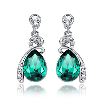 Eternal Love Teardrop Swarovski Elements Crystal Drop Earrings - Green