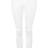 PETITE MOTO White Super Ripped Jamie Jeans - White