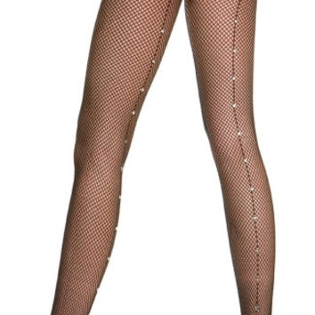 Fishnet Pantyhose With Rhinestone Backseam