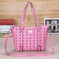 MCM Women Shopping Bag Leather Satchel Crossbody Handbag Shoulder Bag Pink G-YJBD-2H