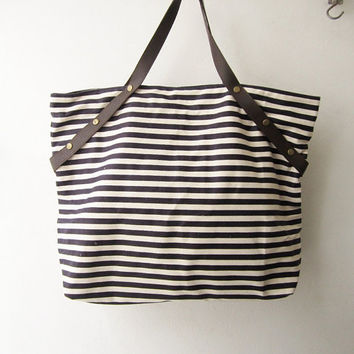 stripes canvas tote bag leather handles, shopping tote bag, black white large tote bag, weekender bag ,beach tote , gym bag, gift idea t004