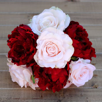 Silk Red Peony Winter Wedding Bouquet- Cranberry Red and Blush Peonies and Roses