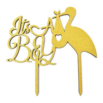 It's A Boy Baby Shower Glitter Cake Topper, 6-1/2-Inch, Gold