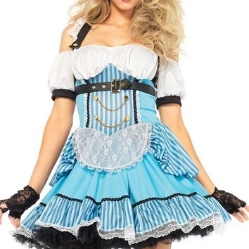Edgy Alice Light Blue White Black Stripe Pattern Off The Shoulder Short Sleeve Ruffle Flare A Line Mini Dress Halloween Costume