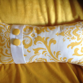 Two Yellow and White Oblong Pillow with Buttons (Free Shipping)