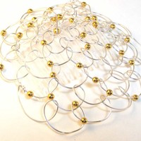 Yarmulke - Silver wire with Gold Pearls