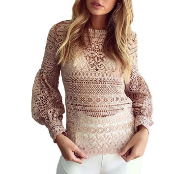 TT309 Sexy Hollow Out Long lantern Sleeve Floral Embroidery Crochet Women Lace Blouse Top Shirt Geometry Blusas White Black Pink
