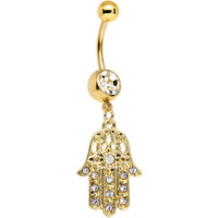 Clear Gem Gold Anodized Hamsa Hand Dangle Belly Ring | Body Candy Body Jewelry