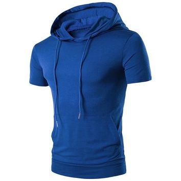 Men's Hooded Short-sleeved Solid Cotton T-shirt