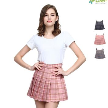 Tartan Tennis Skirts Pleated A-line Skirt With Shorts High Waist Skater Skirt Plaid Pattern School Skirt Uniform Sports Skirts