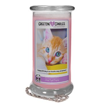 Happy Birthday to our favorite crazy cat person! | Jewelry Greeting Candle