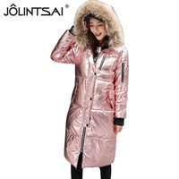 JOLINTSAI Shiny Hooded Women's Winter Coat 2018 New Fashion Cotton Padded Female Parka Winter Jacket Women Warm Coats