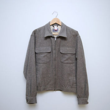 Vintage 1960's Men's Gray Wool Pendleton Jacket - Size Medium - Lightweight Casual Jacket - Coat Outerwear