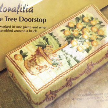 Vintage Needlepoint Kit, Doorstop Needlepoint Kit, Glorafilia Needlepoint Kit, Brick Doorstop, Unused, Orange Tree Doorstop, Glorafilia Kit