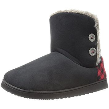 Dearfoams Womens Buffalo Plaid Faux Fur Lined Bootie Slippers