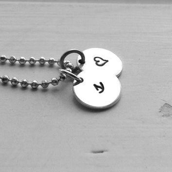 Small Initial Necklace with Heart Charm, Sterling Silver Jewelry, Letter s Necklace, Hand Stamped Jewelry, Small Heart Necklace, Charm, s