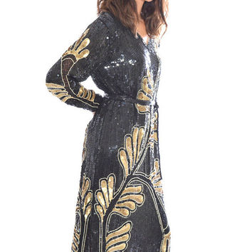 VTG 80s Silk Gold Sequins Art-deco Flapper Trophy Glam party Tunic Midi Dress