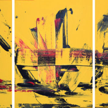 "LARGE WALL ART triptych 3 panel wall contemporary art canvas ""Yellow Abstraction"" original painting abstract canvas pop wall kunst 27 x 12"""