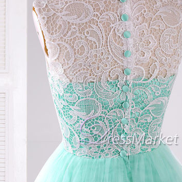 Mint green short prom dress,Mint green satin white lace and tulle sleeveless homecoming dress,Lovely Lace knee length party dress