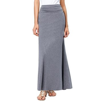 High Waist Pleat Long Skirt Black Grey New Fashion 2017 Autumn Winter Cotton Women Maxi Skirt Aline Floor Length Skirts Saia