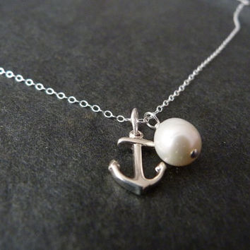 Tiny anchor necklace with pearl, STERLING SILVER, mini anchor necklace, little anchor, minimalist jewelry, beach wedding