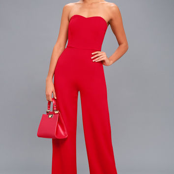 Edith Red Strapless Jumpsuit