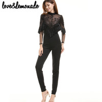 Love&Lemonade Lace Sequined Tassels Jumpsuits Black  TB 9692