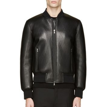 Neil Barrett Black Leather Diamond Embossed Bomber Jacket