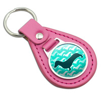 Dachshunds Galore Pink Leather Keychain