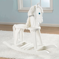 SAVE KidKraft Anti-Tip Derby Wooden Rocking Horse w/ Wool Main & Tail