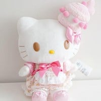 Cute Large 35cm Hello Kitty My Melody Plush Toy Kawaii Cats With Cake cloth Soft Stuffed Animals Dolls For Girls Children Gifts